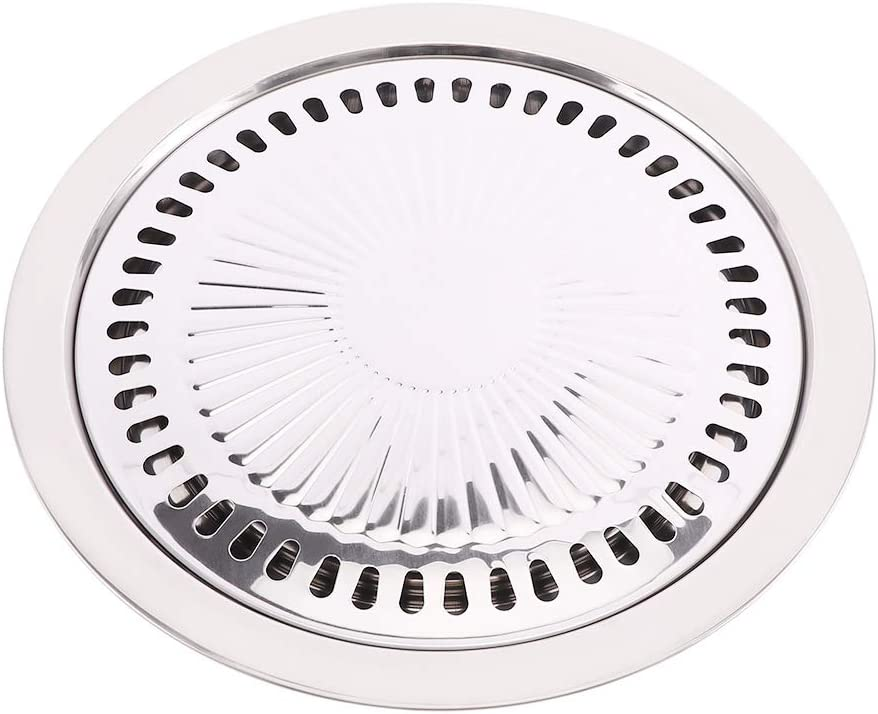Baitu Non-Stick Gas BBQ Grill Pan,Korean Stainless Steel Healthy Smokeless Roasting Round Barbecue Grill Plate for Indoor Outdoor BBQ for Cooking Meat Vegetable