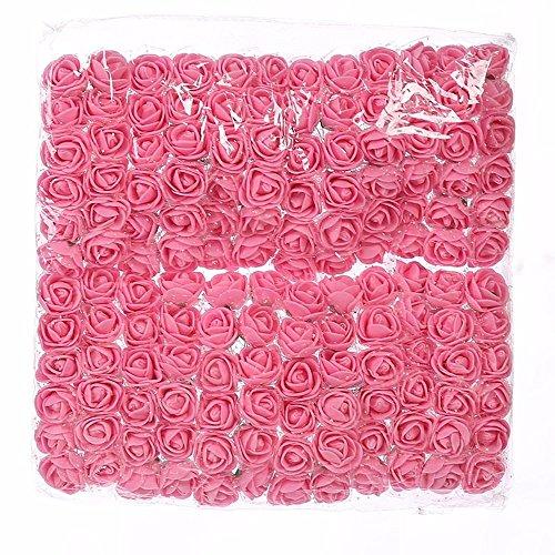 144pcs 2cm Mini Foam Rose Artificial Flowers For Home Wedding Decoration DIY Pompom Wreath Decorative Bridal Flower Fake Flower (pink)