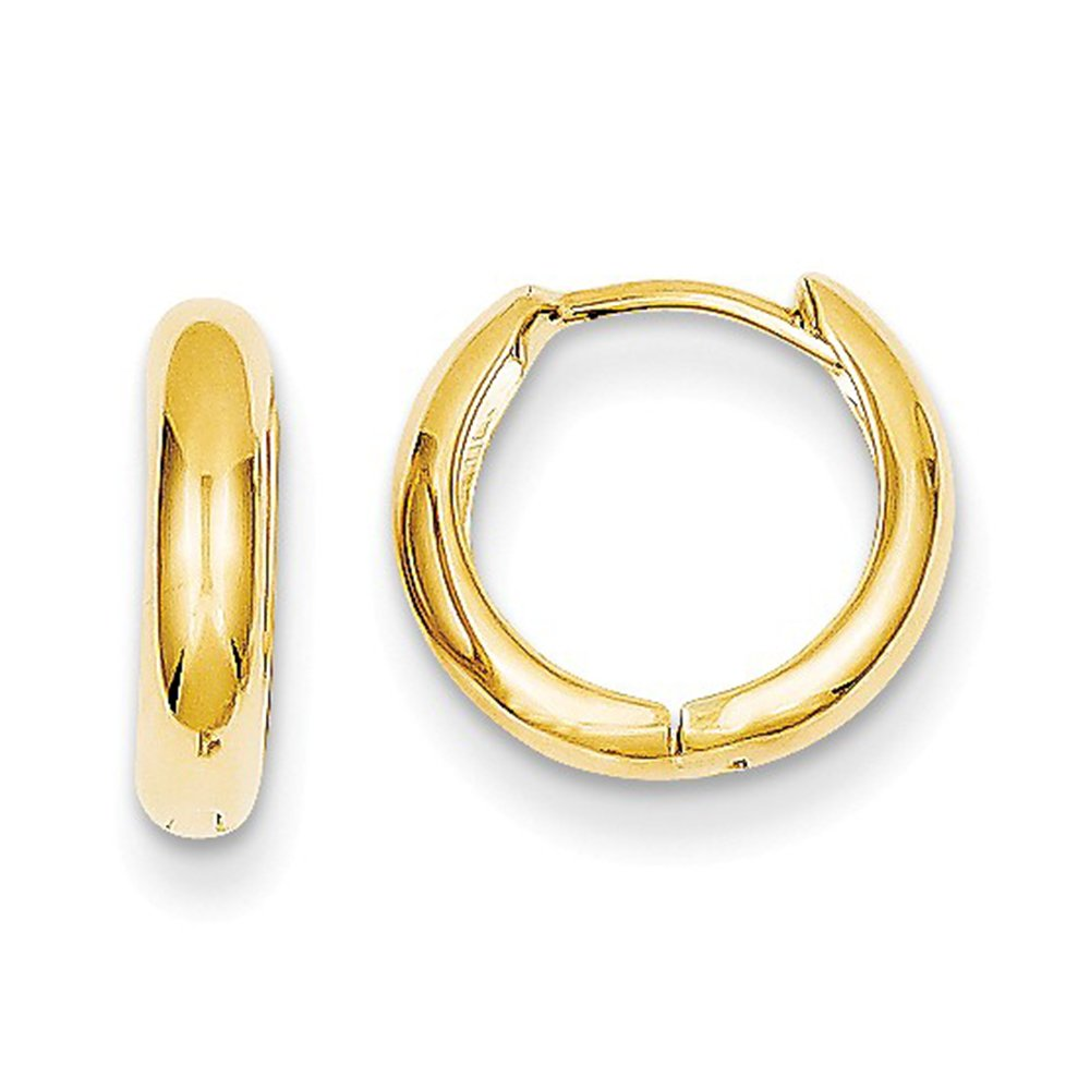 Small 14k Yellow Gold Huggie Hinged Hoop Earrings, 0.5 In (12mm) (3mm Tube)