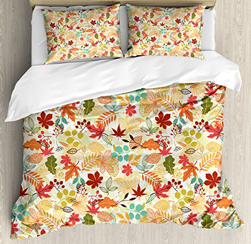 Lunarable Thanksgiving Duvet Cover Set King Size, Colorful Stylized Autumn Leaves Seasonal Foliage Maple Oak Aspen Trees Botany, Decorative 3 Piece Bedding Set with 2 Pillow Shams, Multicolor