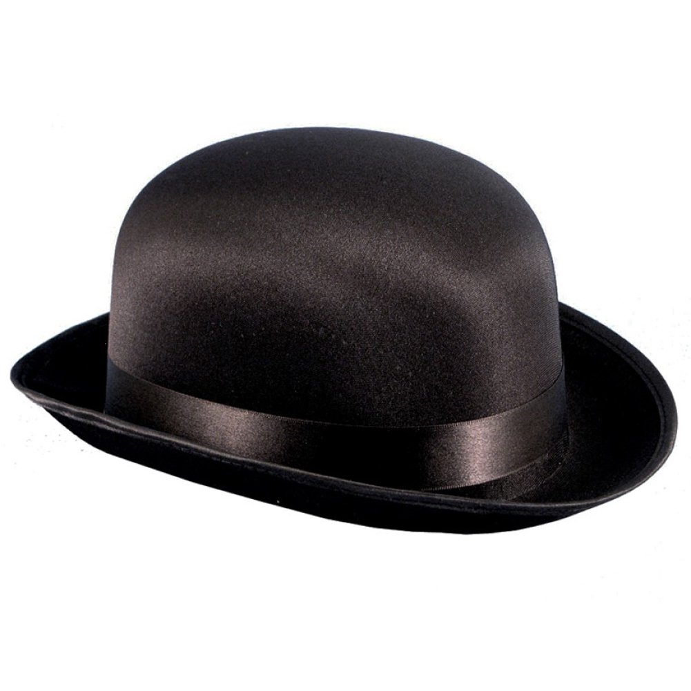 Black Adult Satin Derby Hat Size Large