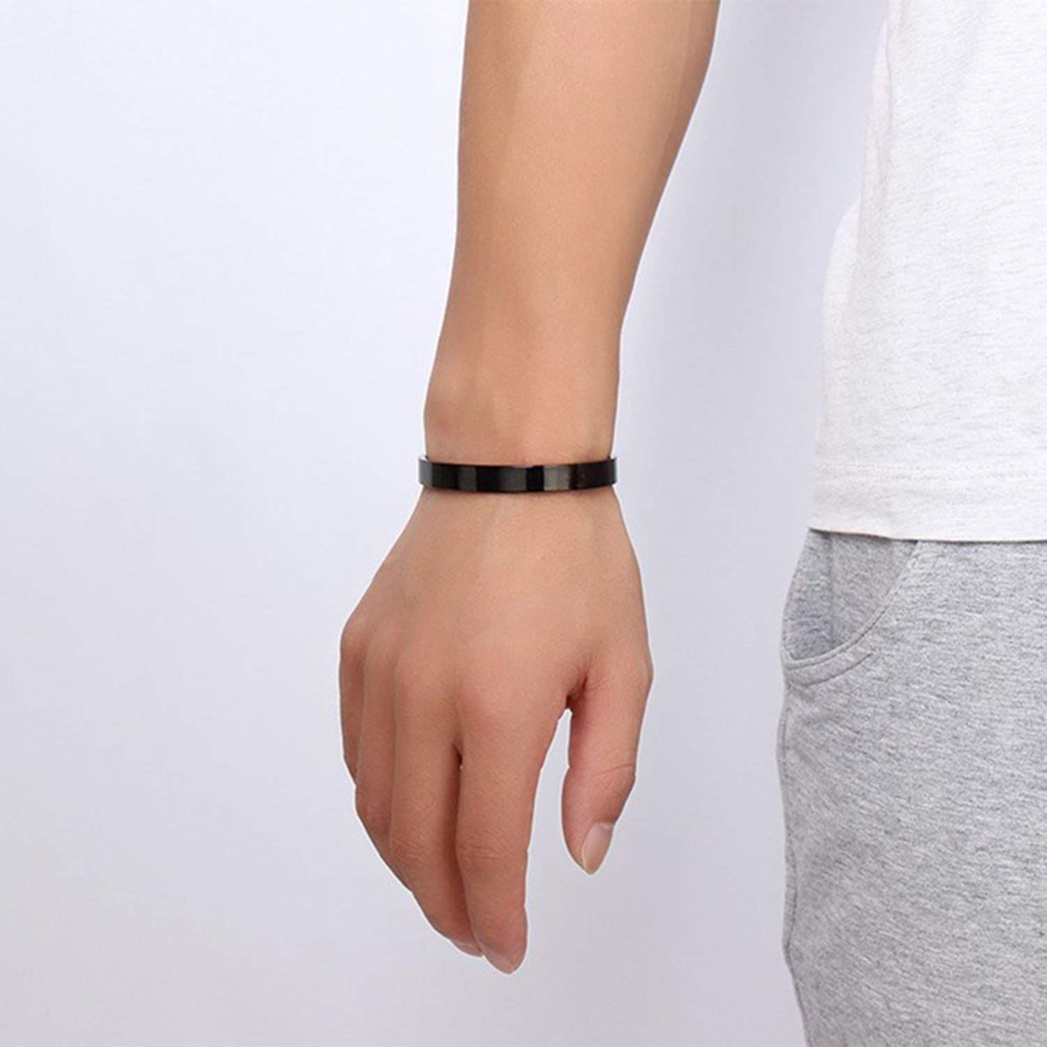 Dayday-Summer Couple Bangle Brief Design Stainless Steel Cuff Bang for Women and Men Gold Silver Black Color Alliance Bracelet