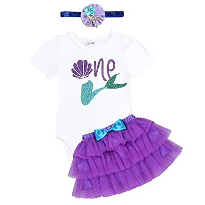 iiniim Baby Girls Mermaid First 1st Birthday Outfit Romper Bodysuit with Tutu Skirt Headband Set Princess Party Costumes: Clothing