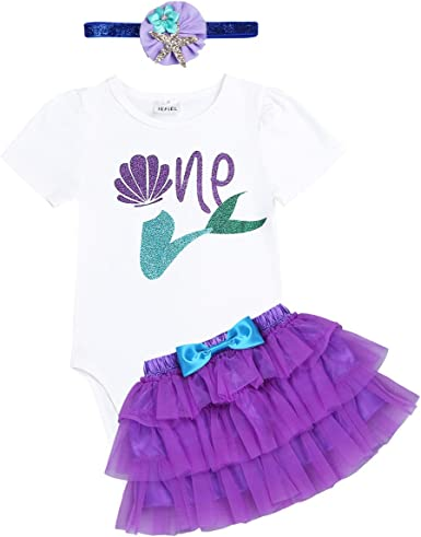 Baby Girls Mermaid Romper+Tutu Skirt Outfit My 1st Birthday Party Clothes Set
