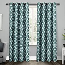 Exclusive Home Curtains Gates Sateen Blackout Thermal Grommet Top Window Curtain Panel Pair, Teal, 52x84