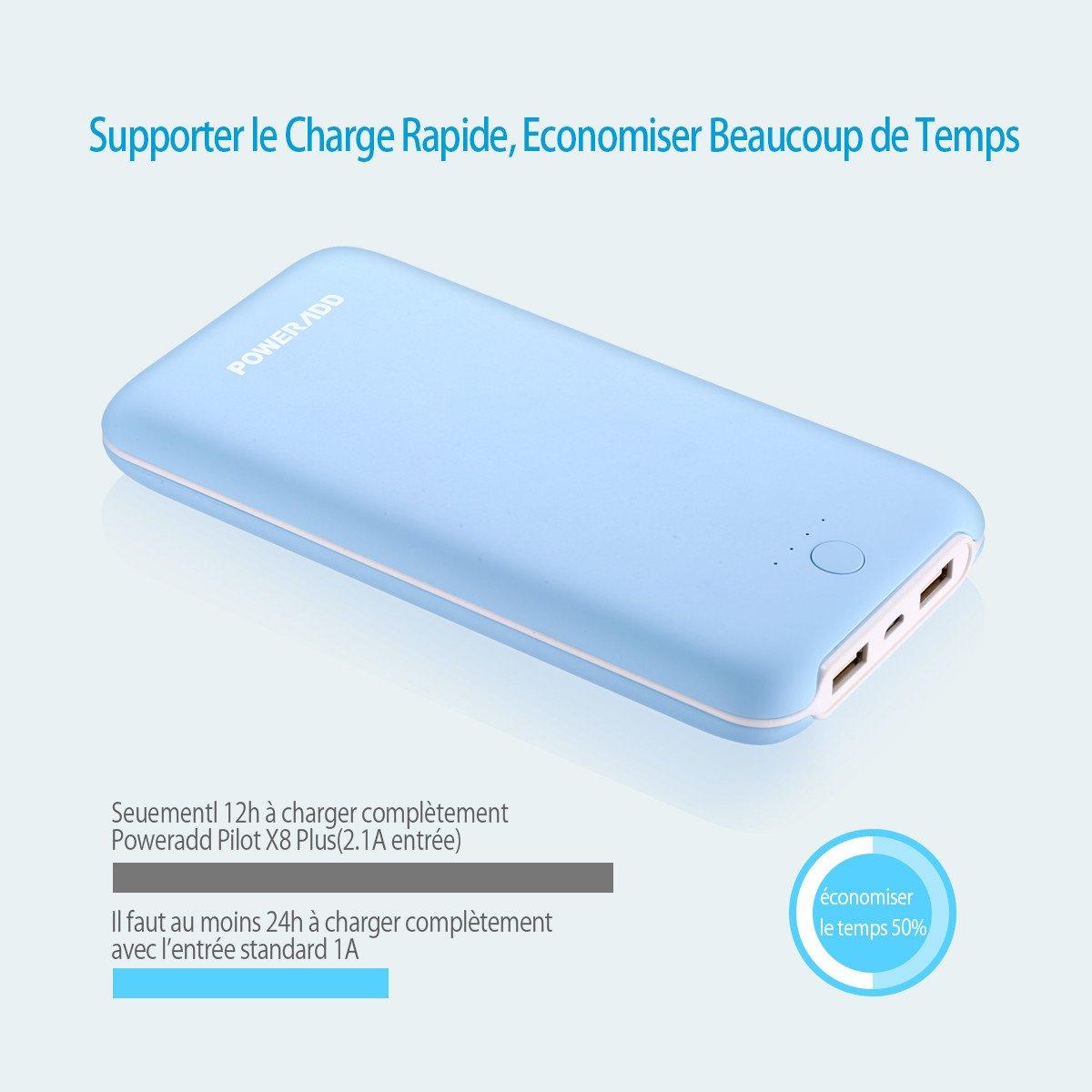 Poweradd Pilot X8 Plus 20000mAh Batterie Externe de Secours Universelle avec 2 USB Port de Sortie (2.1A+2.1A) pour iPhone, iPad, Android, Samsung Smartphone etc. - Bleu