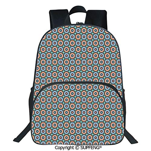 (Square Front Bag Backpack Mosaic Circular Pattern Arrow Shapes Marrakech Inspired Design Abstract Motifs Decorative (15.75