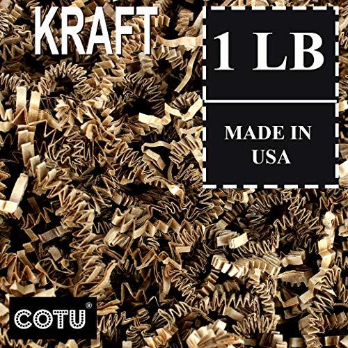 (1 LB Natural Tan Kraft Crinkle Shred Gift Basket Shred Crinkle Paper Filler Bedding by COTU (16 oz))
