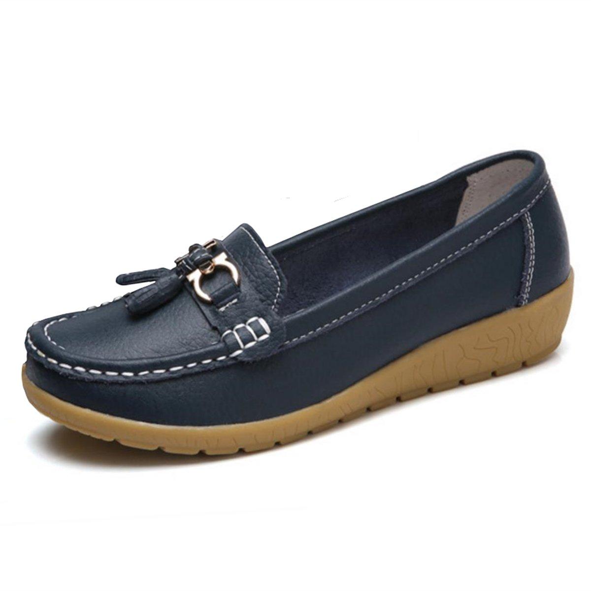 Women Loafers Leather Oxford Slip On Walking Flats Anti-Skid Boat Shoes (7.5 B (M) US, V-Dark Blue)