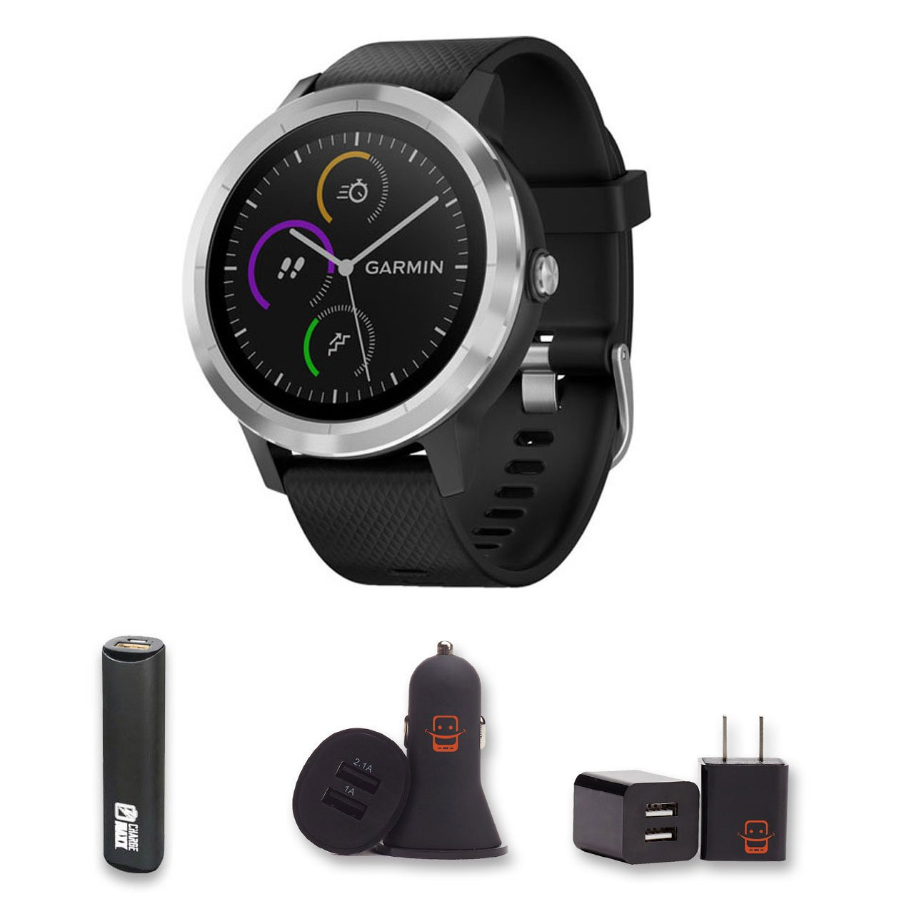 Garmin Vivoactive 3 (Black) GPS Smartwatch + PowerBank + USB Car Charger + USB Wall Charger, EZEE Bundle