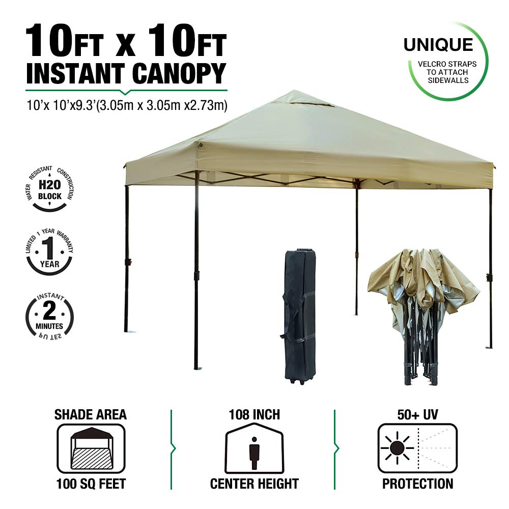 kdgarden 10' x 10' Outdoor Easy Pop Up Canopy Portable Event Party Shade Shelter Tent with Wheeled Carry Bag, Khaki