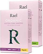 Rael Organic Cotton Unscented Tampons - Regular & Super Absorbency, BPA Free Plastic Applicator, Chlorine Free, Ultra Thin Ap