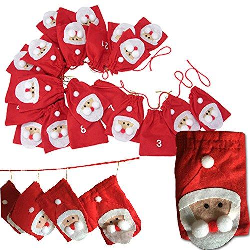 JEMIDI Adventskalender Kette Weihnachtsmänner XL Kalender zum befüllen selbst füllen (Weihnachtsmänner)