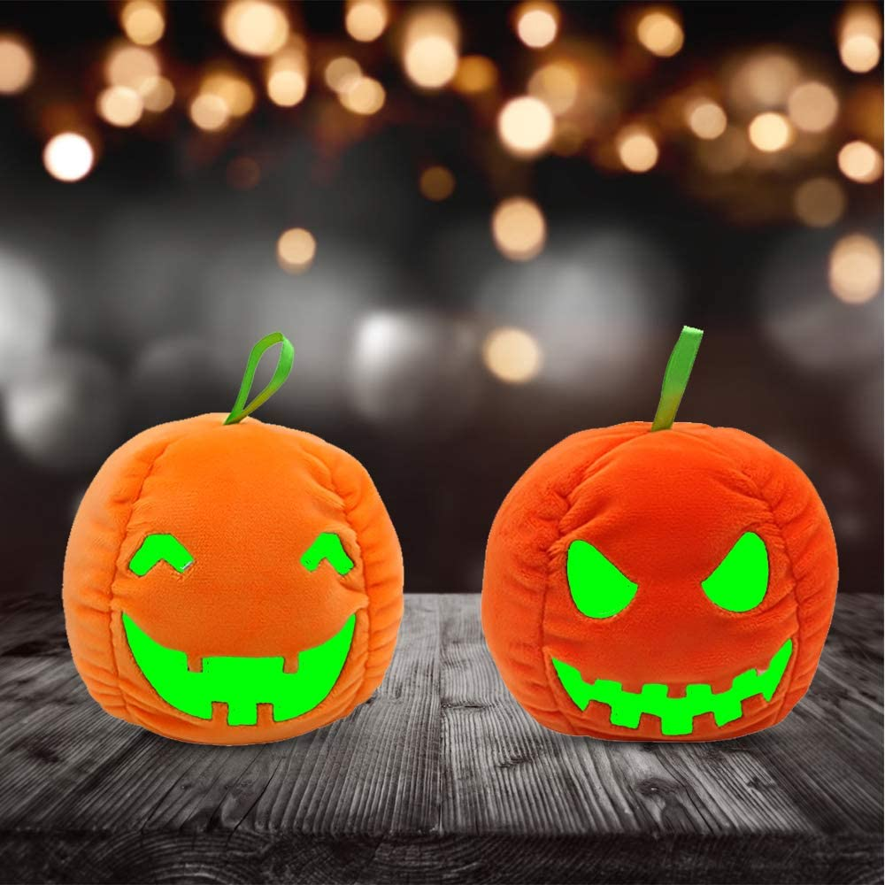 Cute Mini Plush Toy Double-Sided Flip Doll with Realistic Expression Luminous Ghost Pumpkin Stuffed Toy Halloween Reversible Soft Toys Black Visible at Night Suit Children Boys Girls Friends