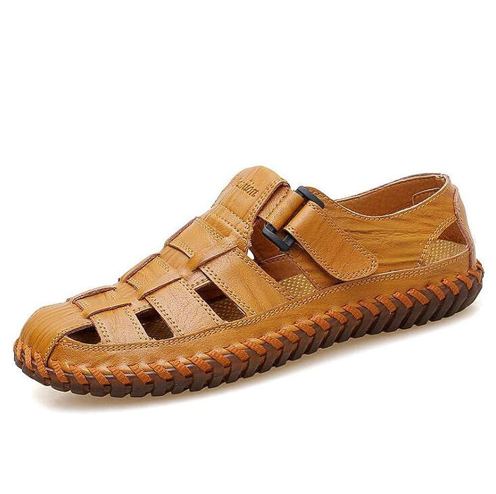 US Men Brown,Lable 41//7.5 D Mens Leather Sandals Comfortable Soles Breathable M