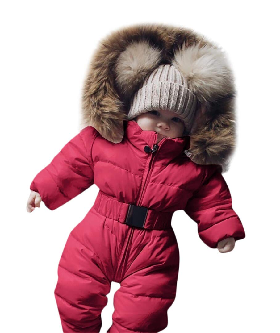Sameno Infant Baby Clothes 0-24 M Cotton Bodysuit Boy Girl Romper Fur Hooded Jumpsuit Warm Coat Outfit Winter Snowsuit Red by Sameno baby clothing