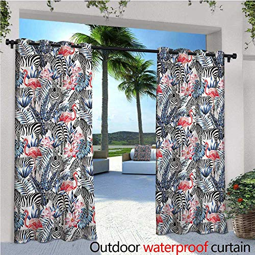 warmfamily Modern Indoor/Outdoor Single Panel Print Window Curtain Exotic Flamingos with Zebras Silver Grommet Top Drape W72 x L96