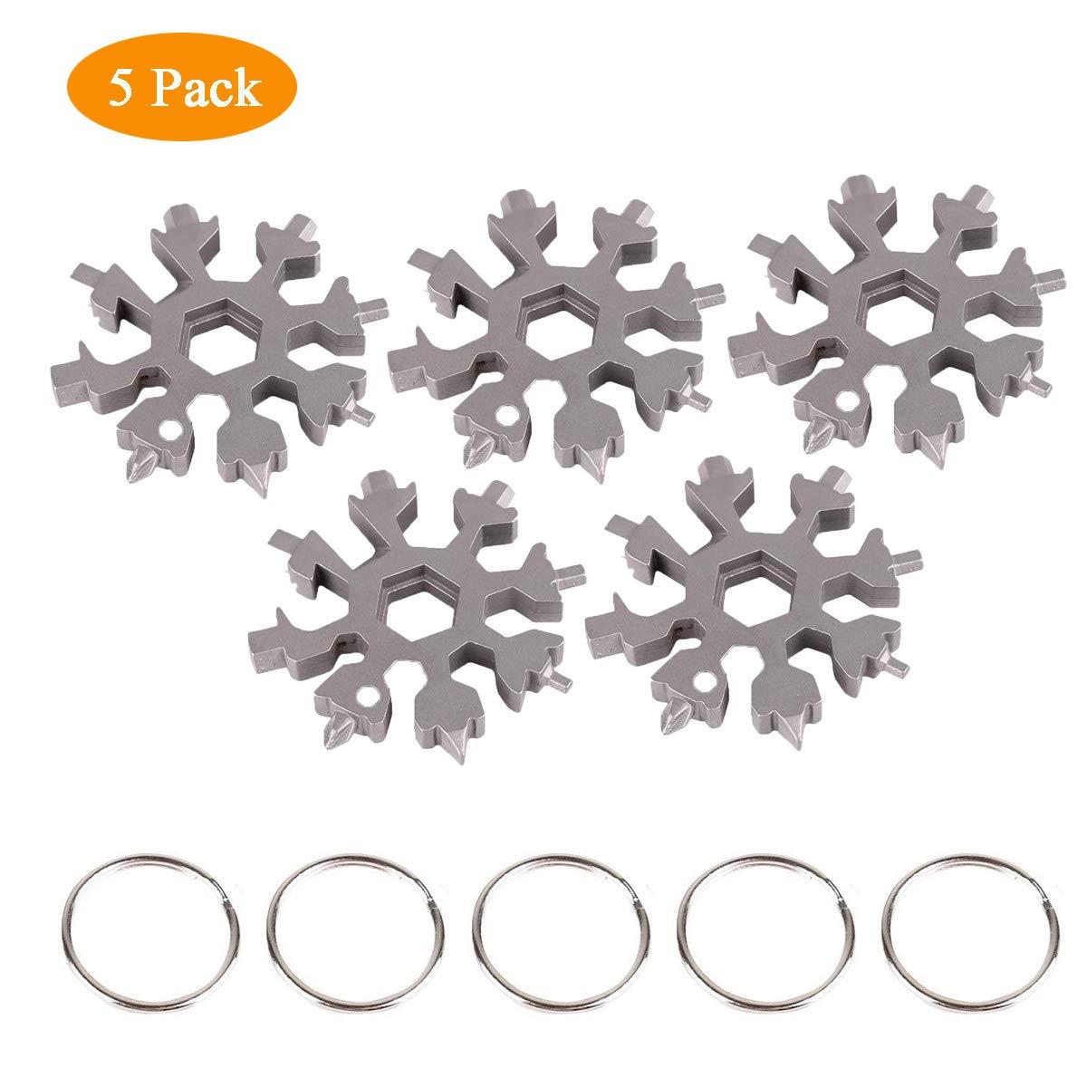 18 in 1 Stainless Steel Snowflake Multi-Tool Card Combination Snowboarding Keychain Bottle Opener Snowflake Tool Card Meelino