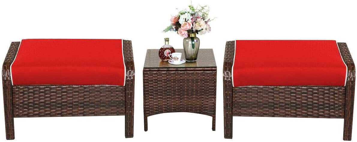 Tangkula 3 PCS Patio Rattan Wicker Furniture Set, 2 Ottomans & Coffee Table