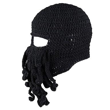 e54add5aa7a MagiDeal Unisex Barbarian Knit Octopus Beanie Balaclavas Winter Warm  Windproof Hat Cap - Black