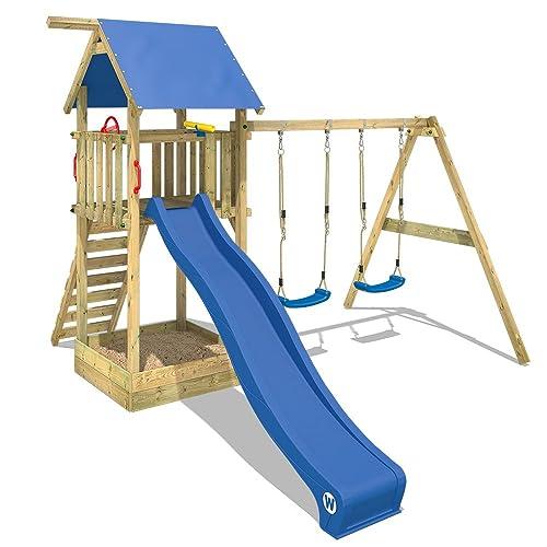 WICKEY Aire de jeux Smart Empire Portique de jeux en bois avec balançoire double et accessoires, toboggan bleu