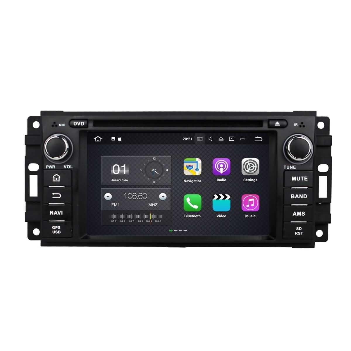 1 Din 6.2 pouces Android 7.1 stéréo de voiture pour Jeep Patriot(2009-2011)/Jeep Compass(2009-2011)/Jeep Liberty(2008-2011)/Jeep Commander(2008-2011)/Jeep Wranger(2007-2012)/Grand Cherokee(2008-2011),DAB+ radio