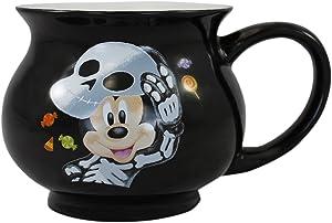 Vandor Disney Mickey Mouse Halloween Cauldron Shaped Ceramic Soup Coffee Mug Cup, 12 Ounce