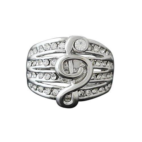 Fengteng Mehrschichtige Kette Ringe, Kristall Noten Ring ...
