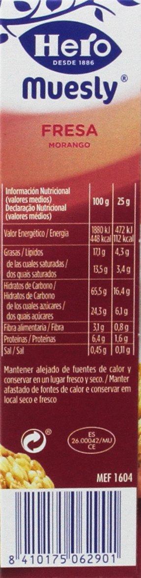Hero - Muesly Fresa Est.6 Barritas x 25 g - [pack de 5]: Amazon.es: Alimentación y bebidas