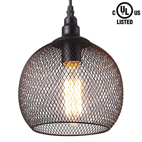 CREALITE Vintage Style 1 Light Chicken Wire Dome Pendant Light with Black Net Metal Shade in Modern Industrial Edison Style Hanging CL2017041 (Zeus Black) (Wire 1 Chicken)