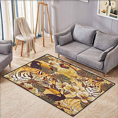 Living Room Area Rug,Tiger,Tropical Animals Symbol of Bengal and Toucan in Lively Colors Harmonious Nature Print,Anti-Static, Water-Repellent Rugs,5'3