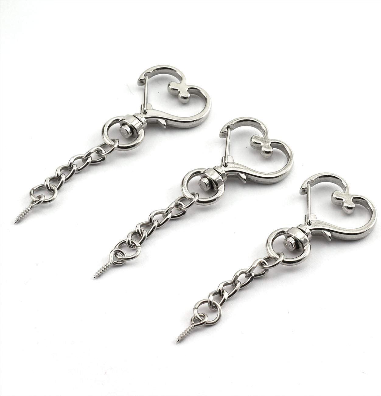 JCBIZ 20pcs Silver Heart Design Spring Snap Keychain Clip Zinc Alloy DIY Key Chains Accessories Creative Pentagram Hanging Buckle
