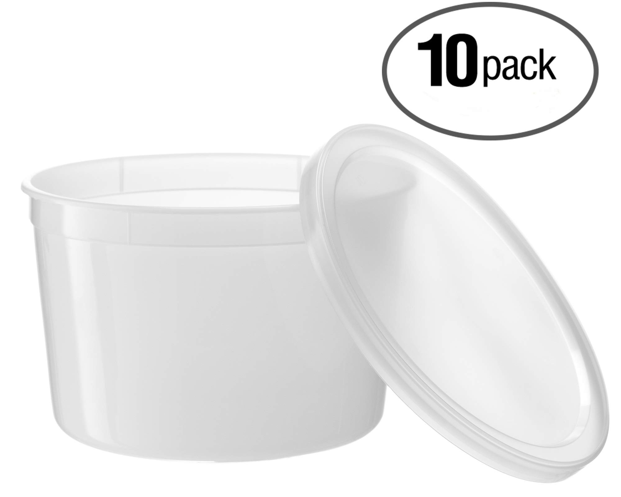 Basix 64 oz. Freezable Deli Food Storage Containers w/Lids - Package of 10 - Food Storage