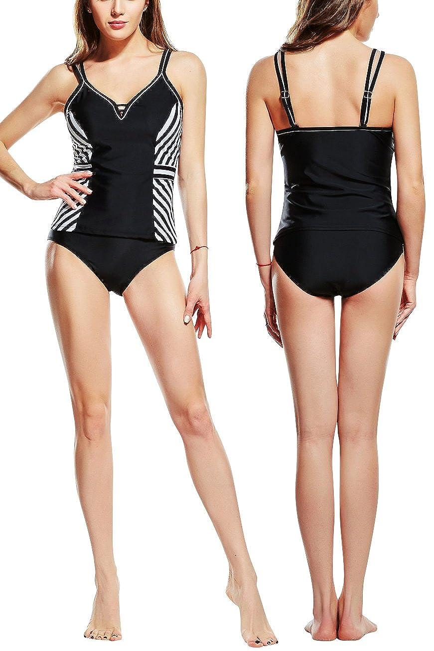 ef22836a8cf3 2018 Dos Piezas Rayas Bañador Deportivo Bañador de natación Bikini ...