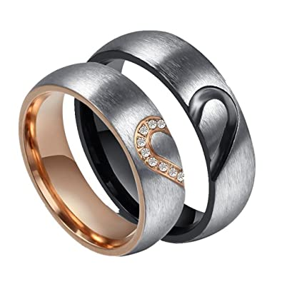 rowag 6mm men heart shape titanium stainless steel couple wedding rings for him and her women - Wedding Rings For Him