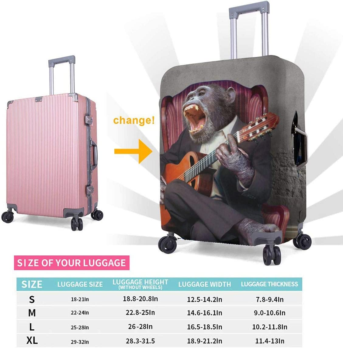 Travel Suitcase Protector Zipper Suit Case Luggage Cover Washable 3D Printing Baggage Covers Chimpanzee Play The Guitar Singer Fits 18 To 32 Inch