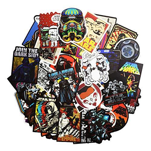 Star Wars Vinyl Stickers - KONLOY 100 Pcs Star Wars Sticker Pack,Cool Star Movie Wars Vinyl Decals for Water Bottle Hydro Flask MacBook iPhone Case Computer Car Bike Bumper Skateboard Luggage,Graffiti Sticker for Kids, Adult