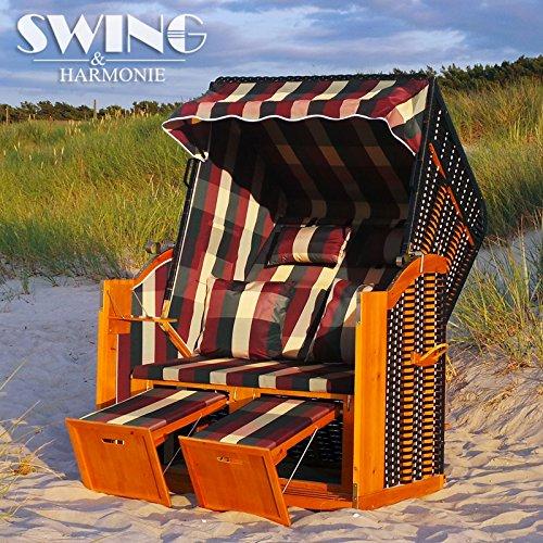Luxus Strandkorb XXL - 136cm Rügen Volllieger Ostsee Sonneninsel Rattan Möbel Gartenliege Polyrattan (rot/grün/beige)