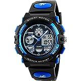 子供腕時計 メンズ腕時計 アナデジ 防水 アラーム 日付 曜日 ストップウォッチ付き LEDバックライト ギフト用
