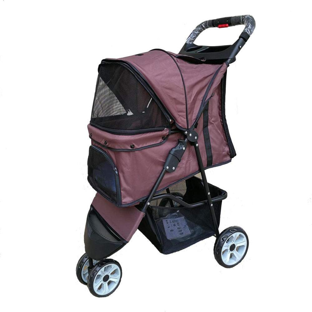 Brown 3920.582 Brown 3920.582 Pet Strollers, Dog Carts, Small and Medium-Sized Pet Cars, Lightweight Pet Strollers (color   Brown, Size   39  20.5  82)