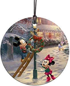 Trend Setters Disney – Mickey Mouse – Minnie Mouse – Victorian Christmas - Starfire Prints Hanging Glass - Ideal for Gifting and Collecting
