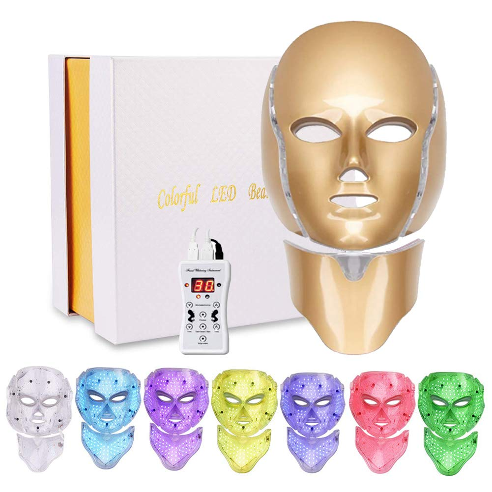 Led Face Mask 7 Color Facial Skin Care Mask with Blue & Red Light Skin Mask for Home SPA Use (Gold)