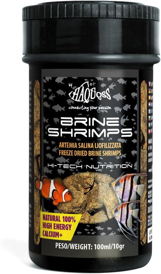 Haquoss Brine Shrimps Mangime Naturale Liofilizzato in Artemia Salina per Pesci Tropicali d'Acqua Dolce e Marina, 100 ml/10 gr