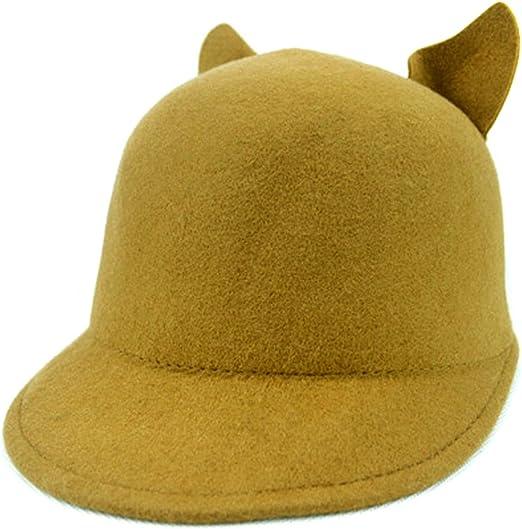 Locomo Women Girl Fashion Punk Cute Cat Ear Derby Bowler Plug Brim Hat Cap Synthetic Wool Felt FFH013BLK Black