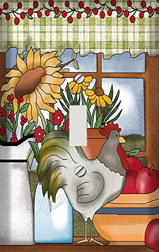 Rooster and Sunflowers Country Window Switchplate - Switch Plate Cover (Rooster Switchplate)