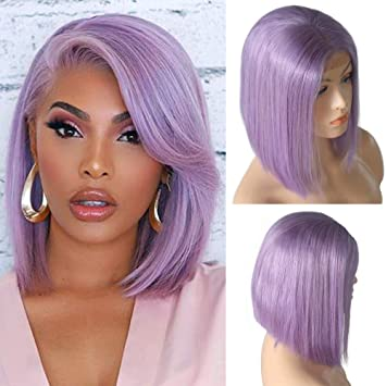 Lace Wigs Bob Wig Lace Front Human Hair Wigs Straight 13x4 Lace Front Wig Remy Hair 130 Density Purple Glueless Wig 8-16 Inches For Women