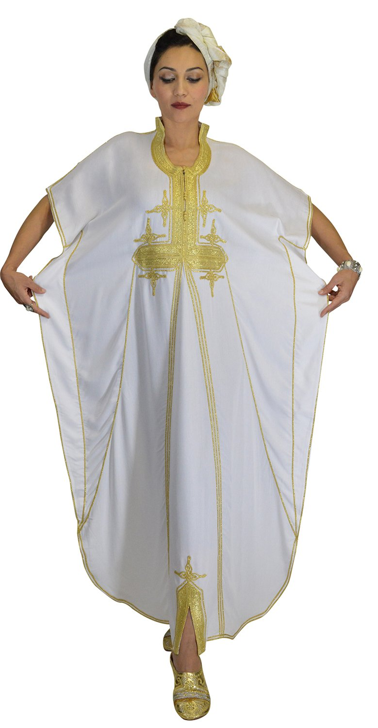 Moroccan Caftans Women Butterfly Hand Made with Gold Embroidery Long One Size White by Moroccan Caftans (Image #6)