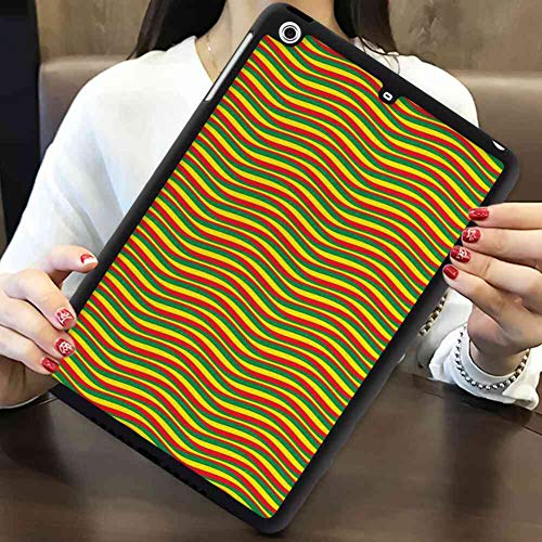 TPU+PC Case Compatible with iPad Mini 2 [2013] [7.9 Inch] Rasta Vivid Colors Ethiopian African Flag Colors in Wavy Style Stripes Image Marigold Green and - Marigold Stripe