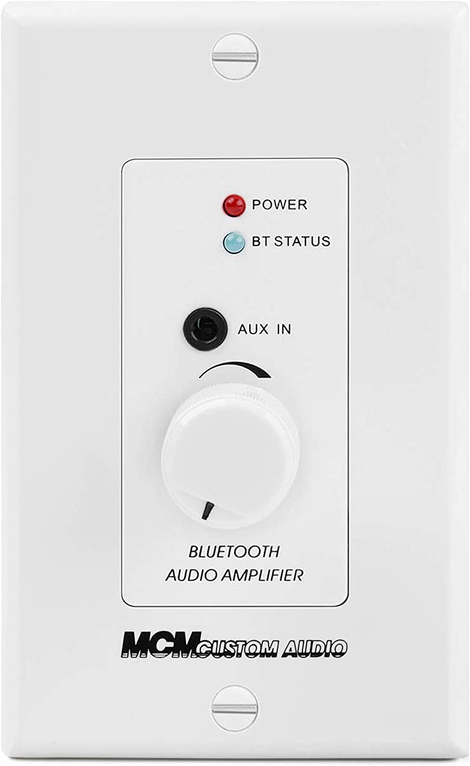 in Wall Stereo Amplifier with Bluetooth Wireless Music Receiver in-Wall Audio Control Receiver with Built-in Amplifier Volume Control, 3.5mm Headphone Jack AUX Input Module for Sound Systems