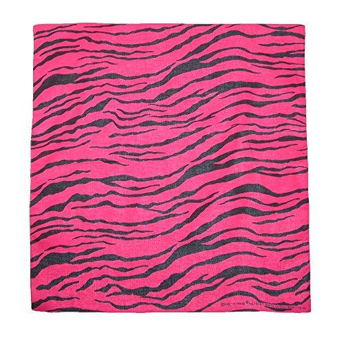 CTM Women's Cotton Neon Zebra Print Bandanas, (Animal Print Bandana)